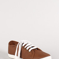 Breckelle Cooper-07 Leatherette Lace Up Round Toe Sneakers