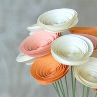 Sherbet Pastel Paper Flowers - 12 Paper Flowers in Peaches and Cream - Spring Centerpiece