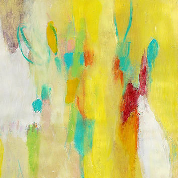 "Small Abstract Painting Intuitive Expressionist Yellow ""August Afternoon"""