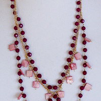 Stylish Long Chain Bead Necklace, Wine and Rose Color Beads, Gold Color Chain, Handmade Jewelry