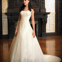 Buy Amazing Ivory A-line Scoop Neckline Wedding Dress under 200-SinoAnt.com