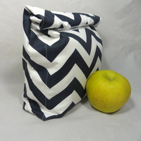 Lunch Bag . Reusable Lunch Sack . Navy Blue Chevron Lunch Bag
