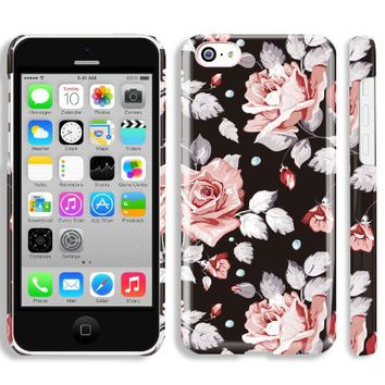 Akna Retro Floral Series Glossy Vintage Flower Girl Case for iPhone 5C [Berlin Black]