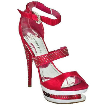 Hudson-03 Hot Pink Party Prom High Heel Platform Sandal Rhinestone Shoes