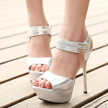 Wed Silver Rhinestones Open toe High Heel Shoes