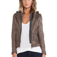 DOMA Hoodie Leather Jacket in Taupe