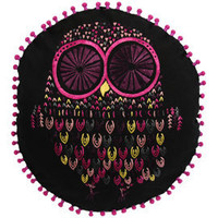 Heal's | Niki Jones Twitwoo Black/Pink Owl Round Cushion > Cushions > Soft Furnishings > Accessories