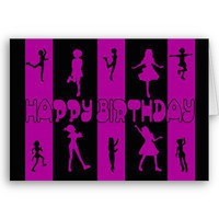 silhouette dancing birthday card from Zazzle.com