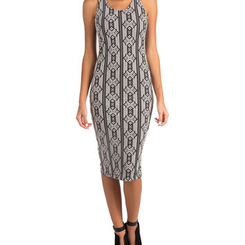 LUSH CLOTHING - CROSS BACK MONOCHROME PRINT MIDI TANK DRESS