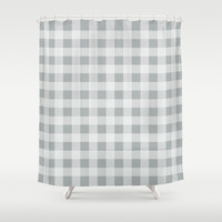 Checker Cross Squares Grey & White Shower Curtain by BeautifulHomes | Society6