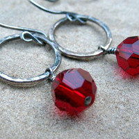 Red Earrings, Sterling Silver, Fine Silver, Hammered Hoop Earrings