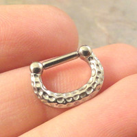 14 Gauge Silver Hammered Textured Septum Ring Clicker Bull Ring Nose Piercing