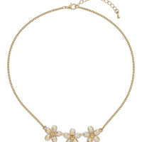 Triple Flower Necklace - Clear