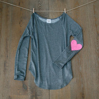 NEW Sequin Elbow Patch Slouchy Pullover in Charcoal Grey -  Women's Long Sleeve French Terry Tee Now available in XL