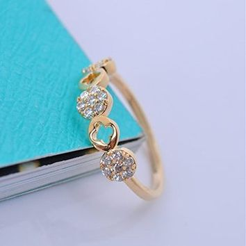 Women's Rhodium Plated Alloy Ring with CZ Micropave Setting-Half Pave Side Ring W3650 0812J