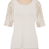 High-low chiffon crochet shoulder top