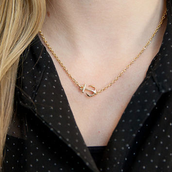 Mini Anchor Necklace Gold