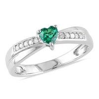 4.0mm Heart-Shaped Lab-Created Emerald and Diamond Accent Promise Ring in Sterling Silver