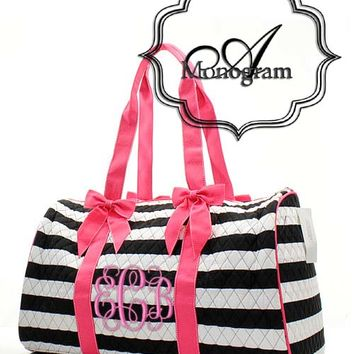 Monogrammed Quited Striped Duffle bag