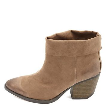 QUPID CUFFED POINTED TOE ANKLE BOOTS