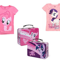 My Little Pony Girls T-Shirts Size 4 Small and Lunch Box Tin Tote New Combo Lot