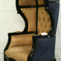 Glamorous Black & Beige Porters Chair Domed Bonnet Throne Chair