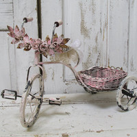 Metal bicycled hand painted cream pink ornate shabby chic inspired embellished with metal roses distressed home decor anita spero