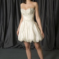 Ivory Ball Gown Sweetheart Satin Beading Short Wedding Dress at Dresseshop