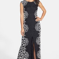 Betsy & Adam Embroidered Lace Gown