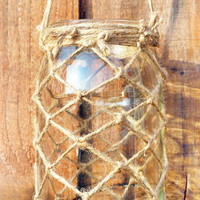 Mason Jar Nautical Rustic Lantern Candle Holder, glass &amp; rope lightening, recycled, eco friendly