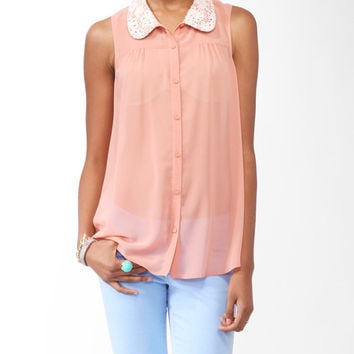 Sleeveless Crochet Collar Shirt