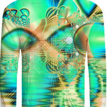 Golden Teal Peacock, Abstract Fractal Copper Crystal created by DianeClancy | Print All Over Me