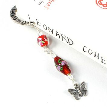Floral Beaded Bookmark Butterfly Charm Red Lampwork Beads