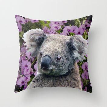 Koala and Orchids Throw Pillow by Erika Kaisersot