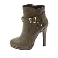BELTED HIGH HEEL ANKLE BOOTIES
