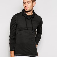 Esprit Washed Funnel Neck Hoodie