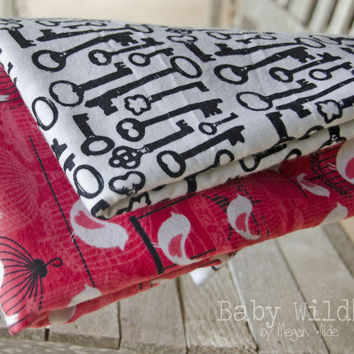 Receiving Blankets Flannel Baby Large Swaddle Wrap Red Bird Birdcage Vintage Key - Free Bird