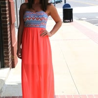 Neon Aztec Tube Dress {Pink}