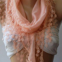 Salmon Pink - Elegance Shawl / Scarf with Lace Edge