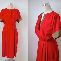 Betty Barclay - Boiler Suit Dress - Vintage Dress - Tomato Red And Khaki - 70s 80s - Women's Utility Fashion