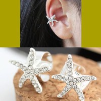 Silver Rhinestone Starfish Ear Cuff (Single, Adjustable, No Piercing)