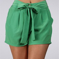 Green Yellow Button Shorts
