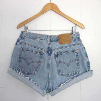 Vintage Levi's Light Wash High Waisted Cut Off Denim Shorts Jean Cuffed 30""