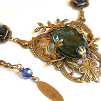 Victorian Crystal Necklace  - Montana Blue Jewel on Oxidized Brass and Swarovski Crystals