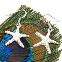Bright Silver Plated Starfish earrings - Perfect Beach Jewelry in Summer - FREE SHIPPING