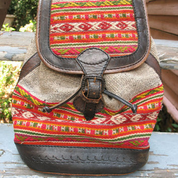 tribal print tooled leather backpack