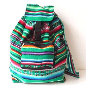 Tribal Fabric Backpack, Latin American, Peru, Green Stripes