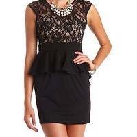 LACE-TOPPED BODYCON PEPLUM DRESS