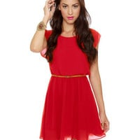Cute Belted Dress - Red Dress - Scarlet Dress - $41.00