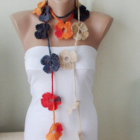 Handmade Crochet  Grey, orange, red and cream mix tones, Flower Lariat, Scarf, Necklace